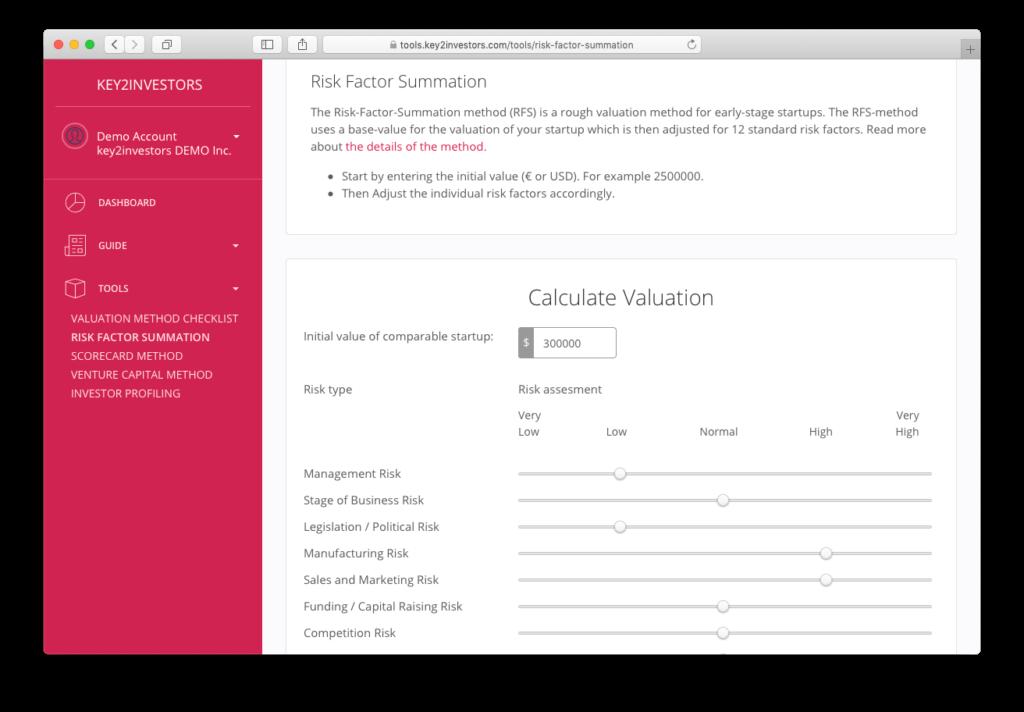 k2i Platform Screenshots Riskfactor Summation