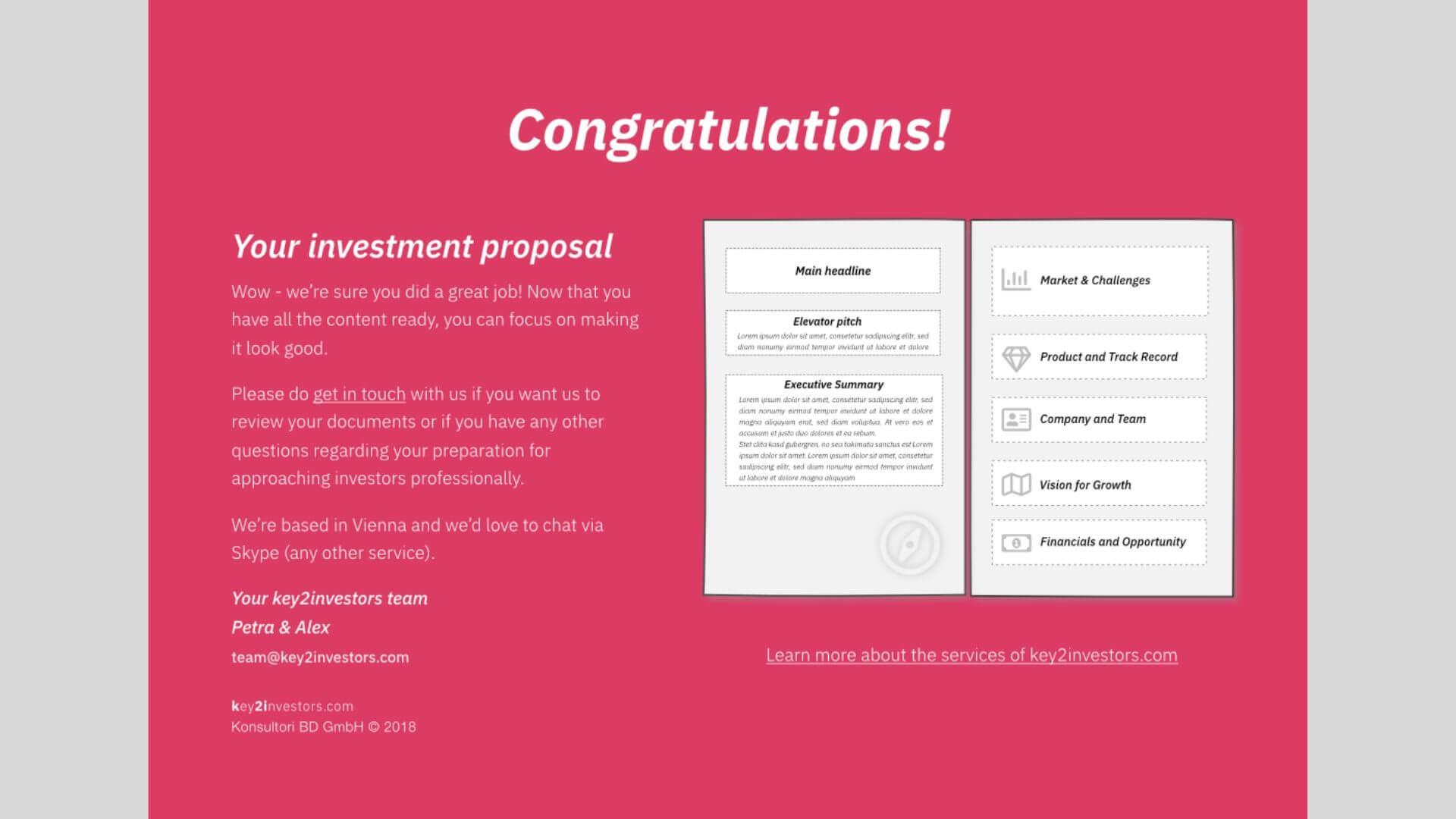 key2investors Investment Teaser Slide